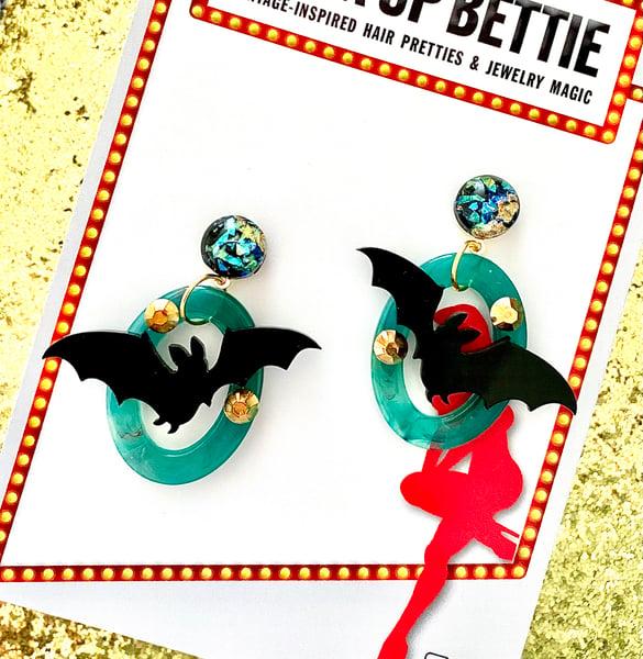 Image of Monster Batty Dreadful Earrings - Zombie Green