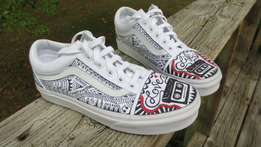 Image of Hand Painted Van's White Canvas Shoes