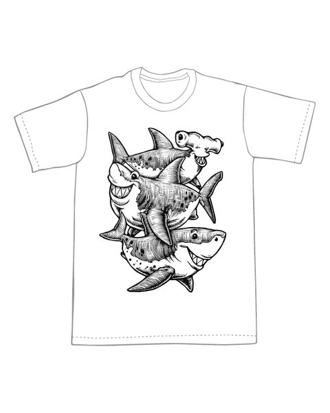Image of Three Sharks T-shirt **FREE SHIPPING**