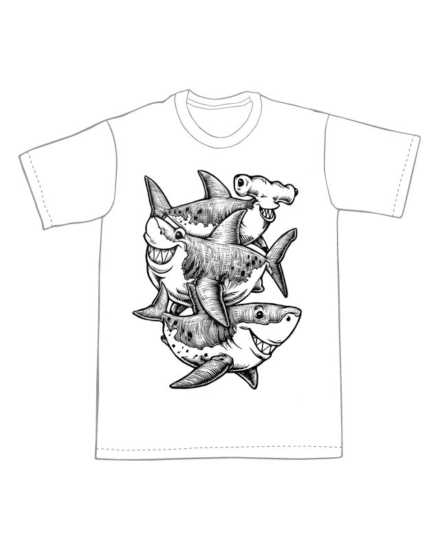 Three Sharks T-shirt (B2)**FREE SHIPPING**