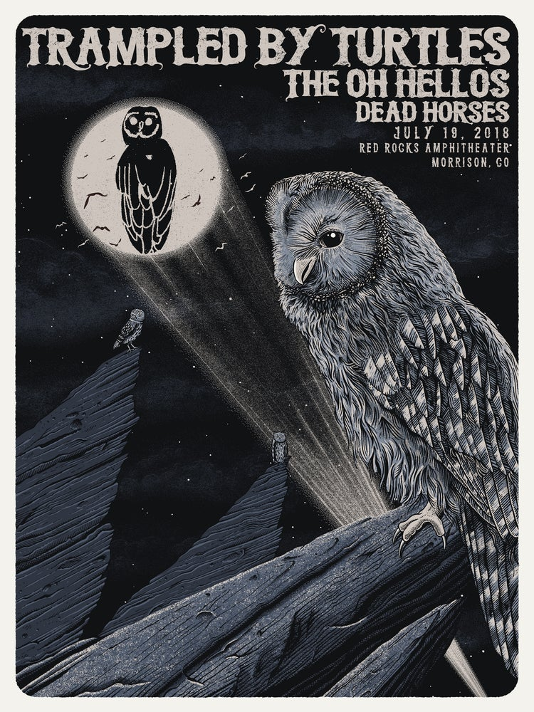 Image of Trampled By Turtles at Red Rocks 2018 Poster - Variant