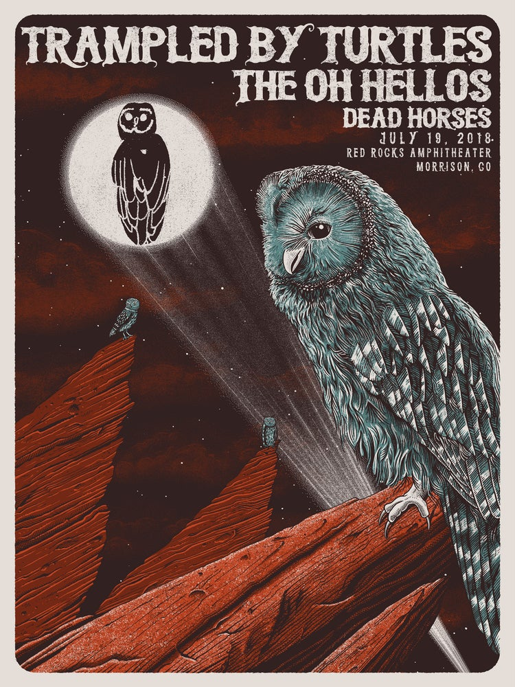 Image of Trampled By Turtles at Red Rocks 2018 Poster