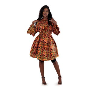 Image of Kente Print Bell Long Sleeve Dress