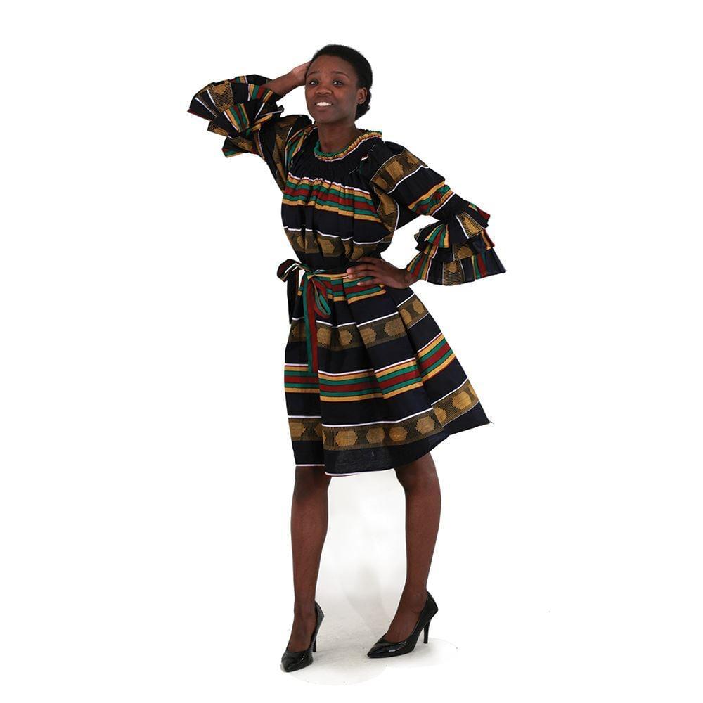 Kente Print Bell Long Sleeve Dress