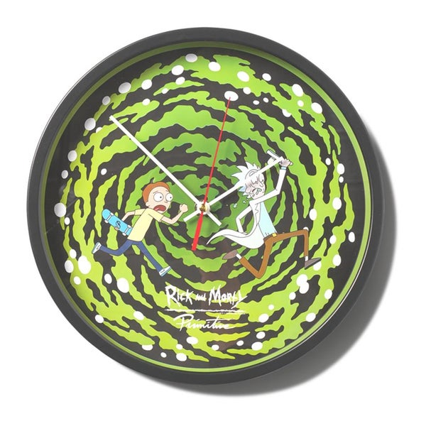 Image of PRIMITIVE RICK & MORTY GLOW IN THE DARK PORTAL WALL CLOCK