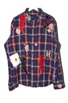 Embroidered leather LIGHT UP plaid shirt 002