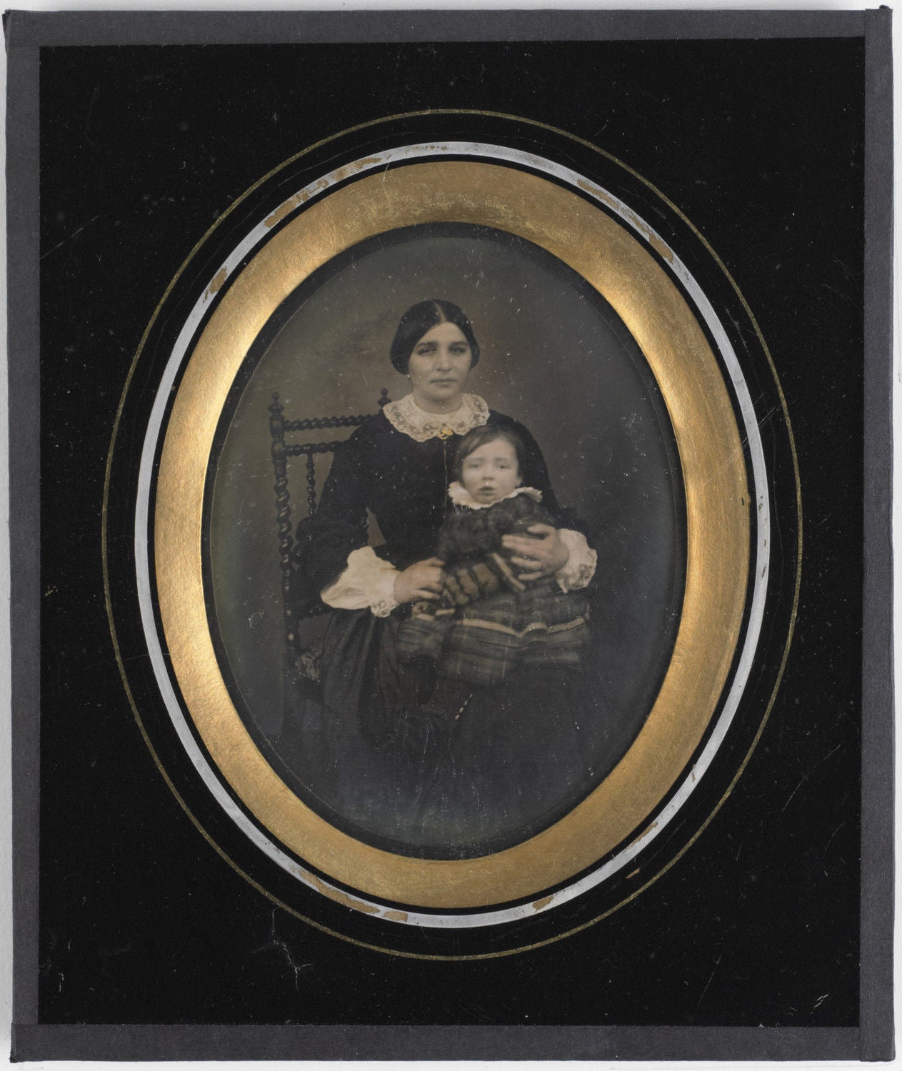 Image of B. Leba: Belgian daguerreotype of a mother and child, ca. 1855