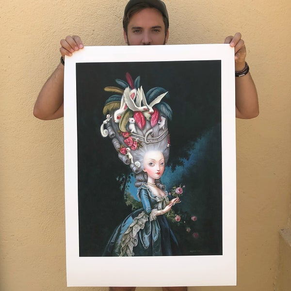 Image of Marie Antoinette à la rose Hand Embellished Print by Benjamin Lacombe