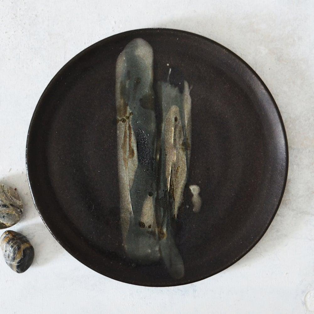 Image of Dark stoneware dessert plate