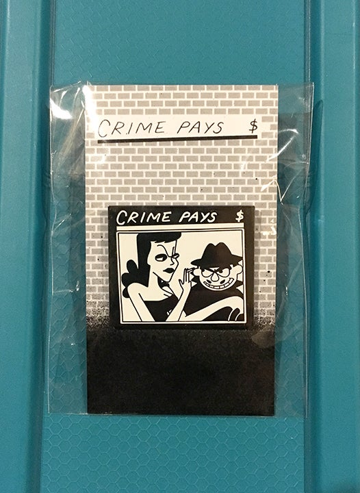 Image of Crime Pays enamel pin