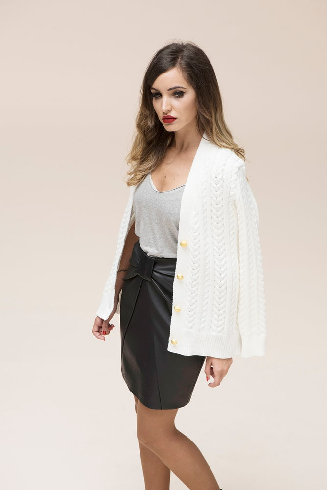 Image of Cardigan trenza blanco natural