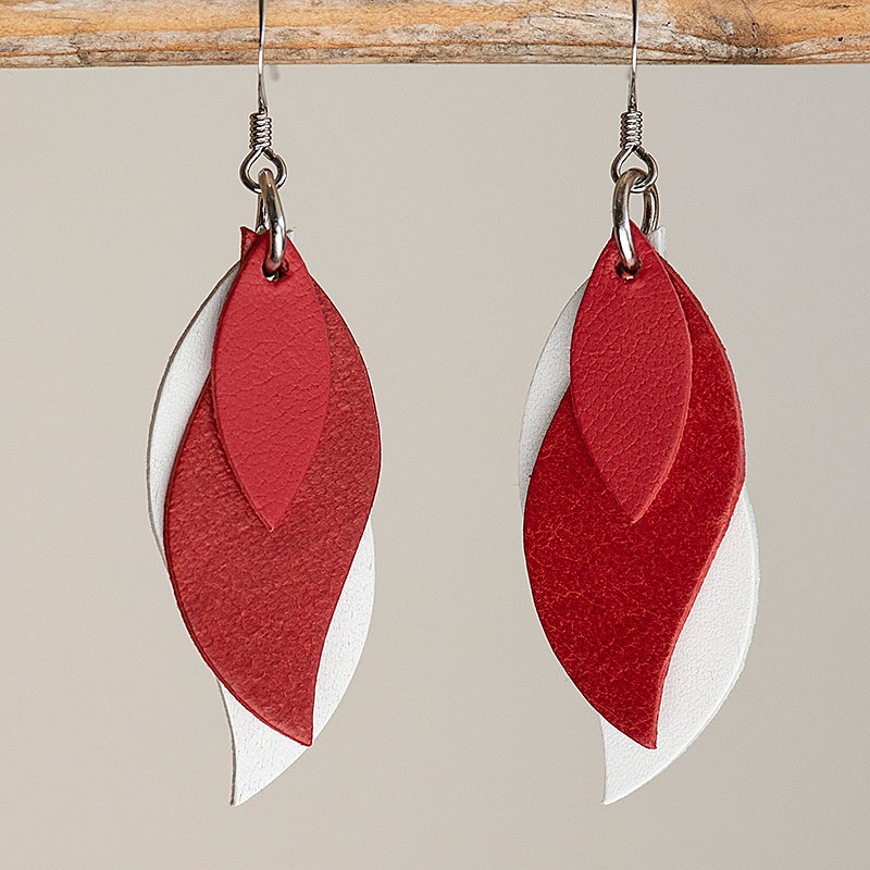 Image of Handmade Kangaroo leather leaf earrings - red and white [LRD-101]