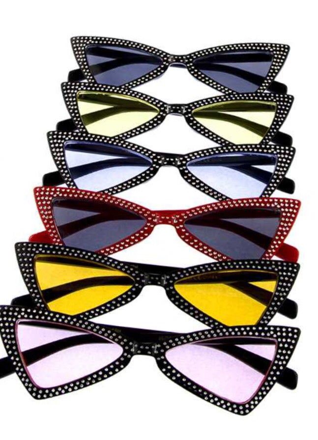 Image of Triangular Dotted Fashion Sunglasses