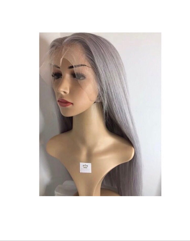 Image of Straight Ice Grey 'Storm' 360 frontal  Wig