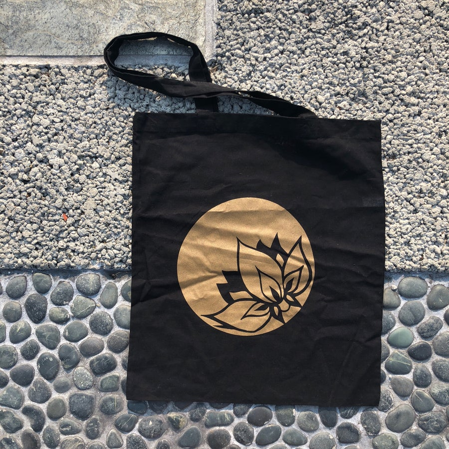 Image of Golden Lotus Black Tote Bag