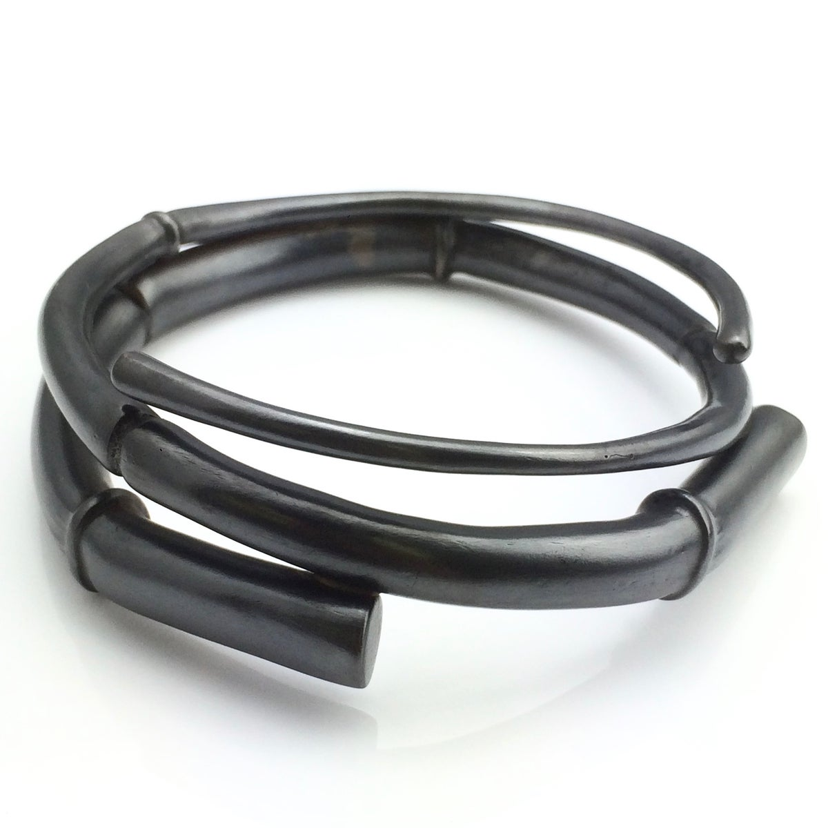 Image of Black Double Tendril Bangle Bracelet 01
