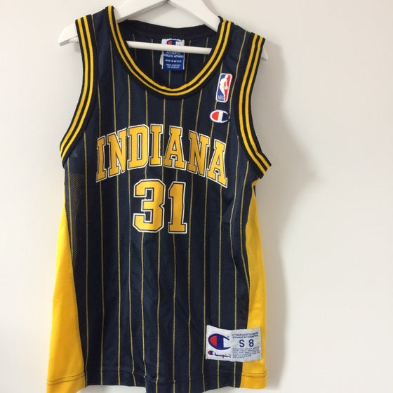 Image of Vintage Champion Indiana Pacers Signed Reggie Miller Jersey
