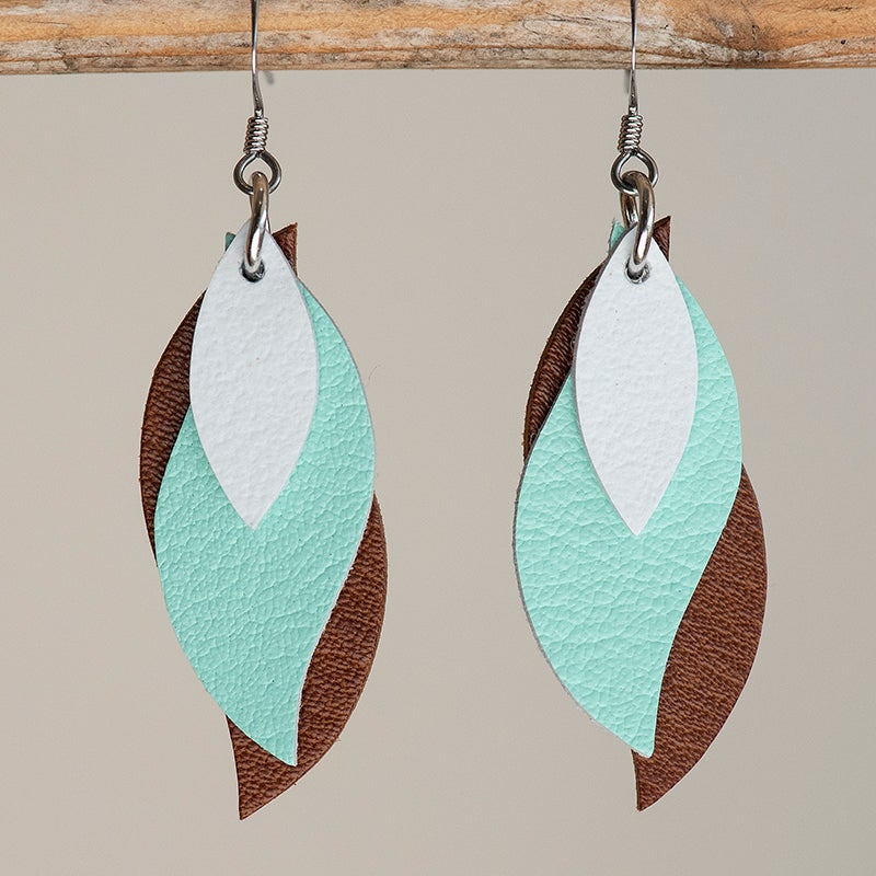Image of Handmade Kangaroo leather leaf earrings - White, spearmint, brown [LMI-060]