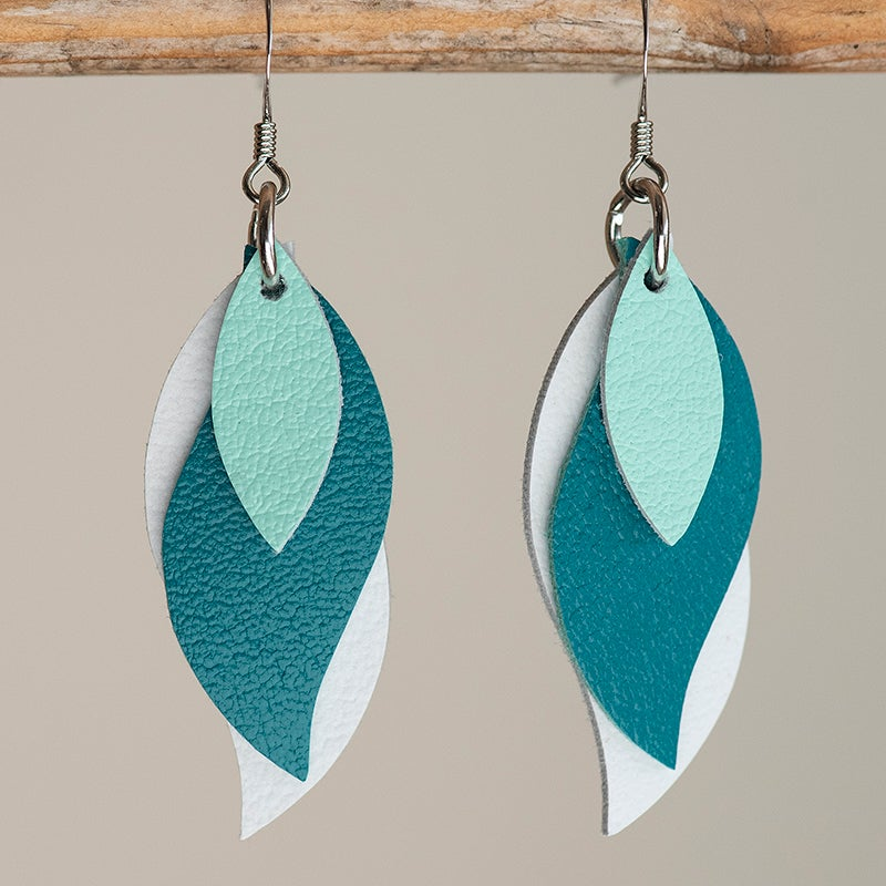 Image of Handmade Kangaroo leather leaf earrings - Spearmint, teal green, white [LTG-017]