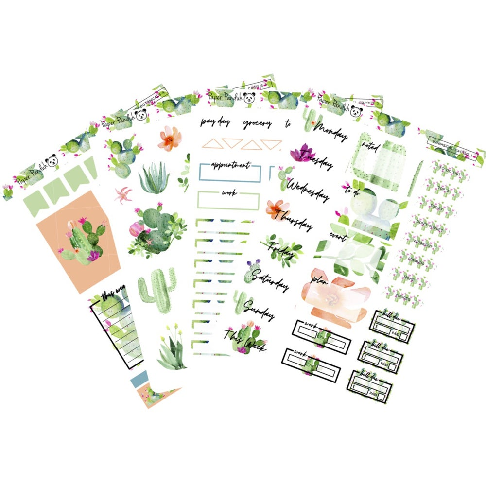 Image of Whimsical Cactus Sticker Kit