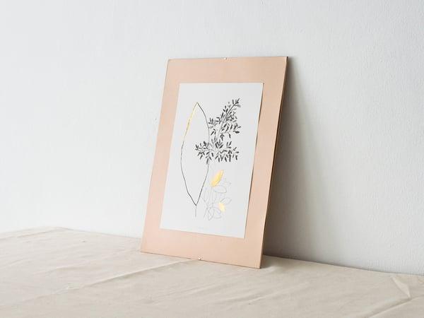 Gold leaves - botanical art print #1 - arminho