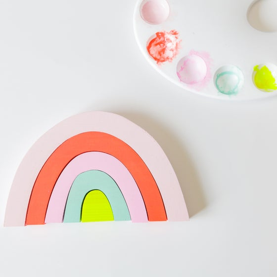 Image of WOODEN RAINBOW SET- BRIGHT