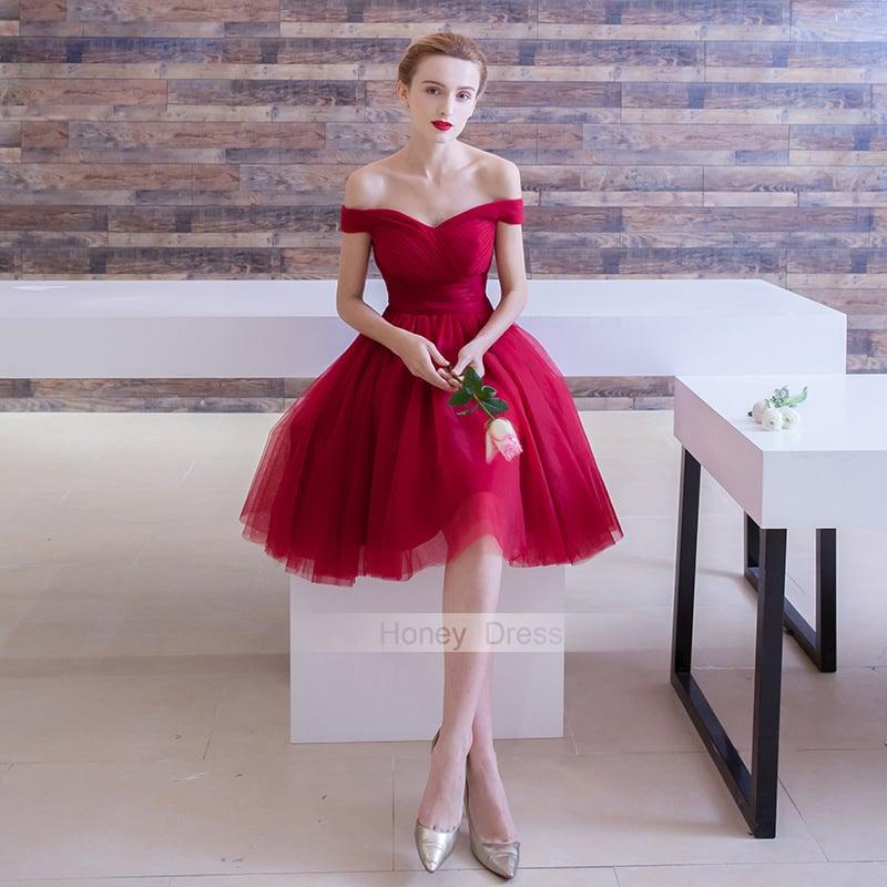 c41febcccf1e Honey Dress — Burgundy Off-The-Shoulder Tulle Short Prom Dress