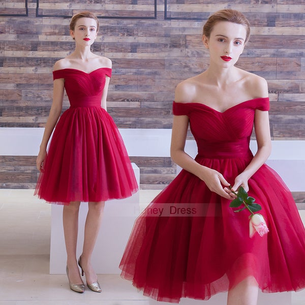 Image of Burgundy Off-The-Shoulder Tulle Short Prom Dress, Wine Red A-Line Homecoming Dress