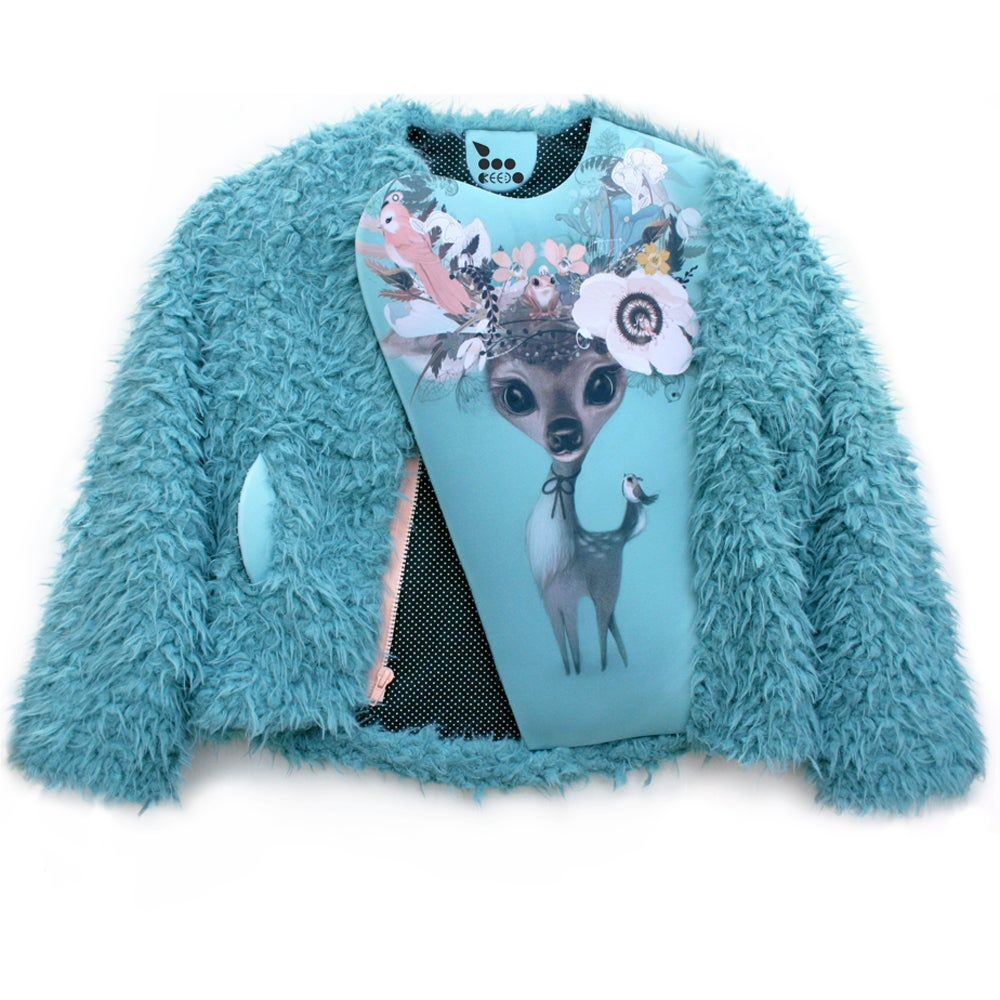 Image of extra soft FAUX fur BAMBI jacket