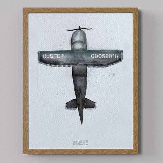 Image of Brum flyvemaskine, navnetavle/fødselstavle