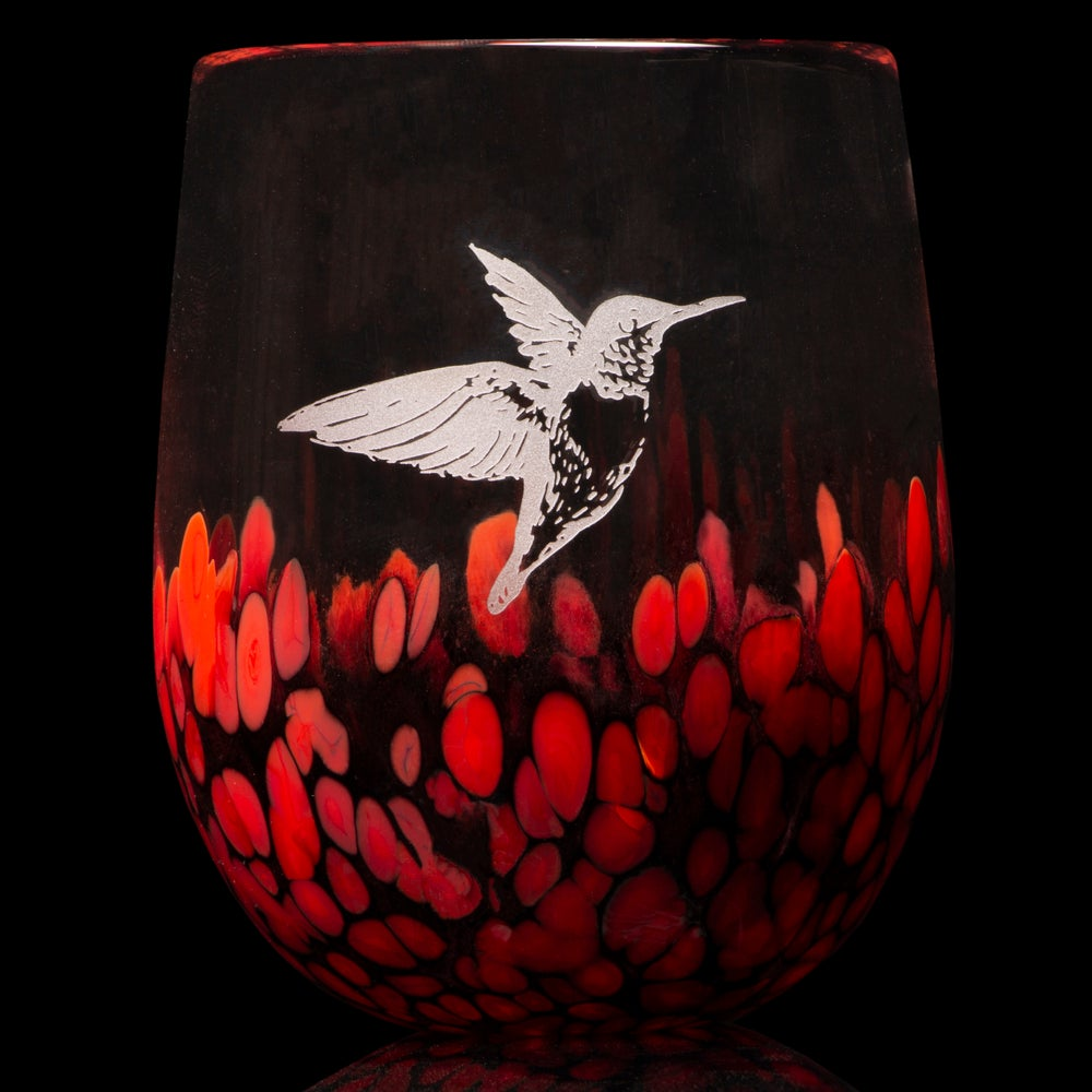 Image of ANIMAL TOTEM GLASS: HUMMINGBIRD