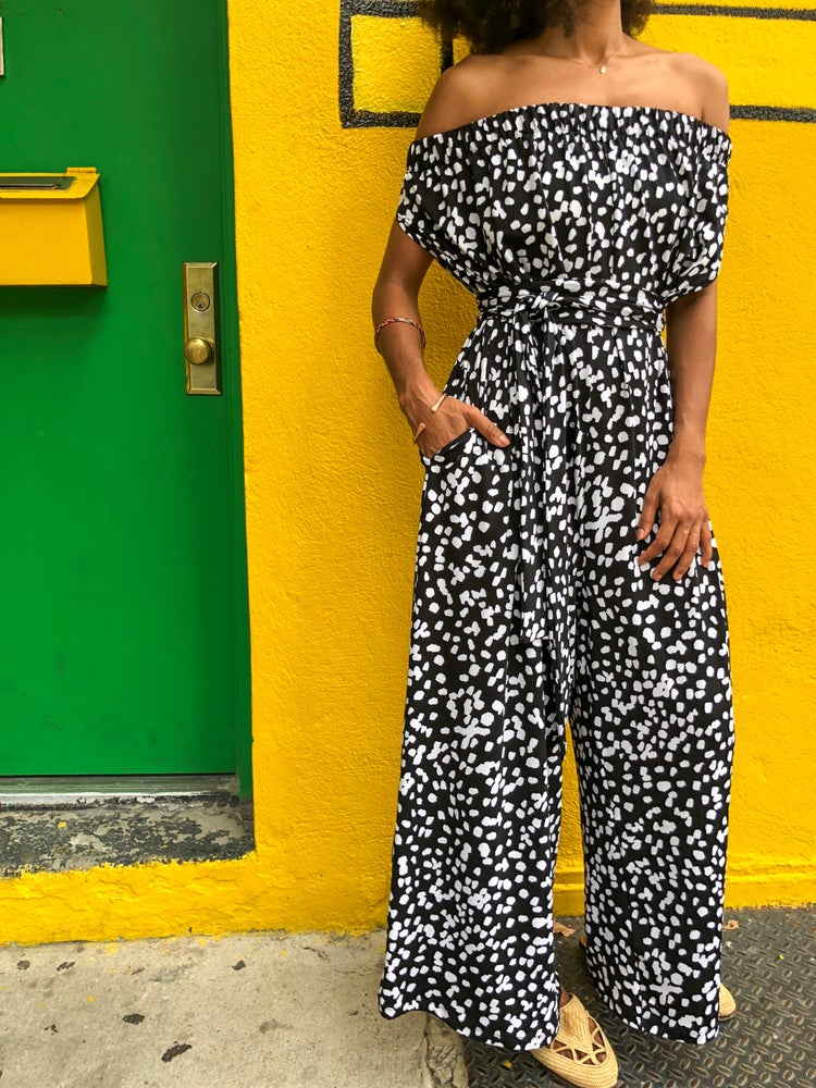 Image of •Eji• jumpsuit: black/white abstract dots