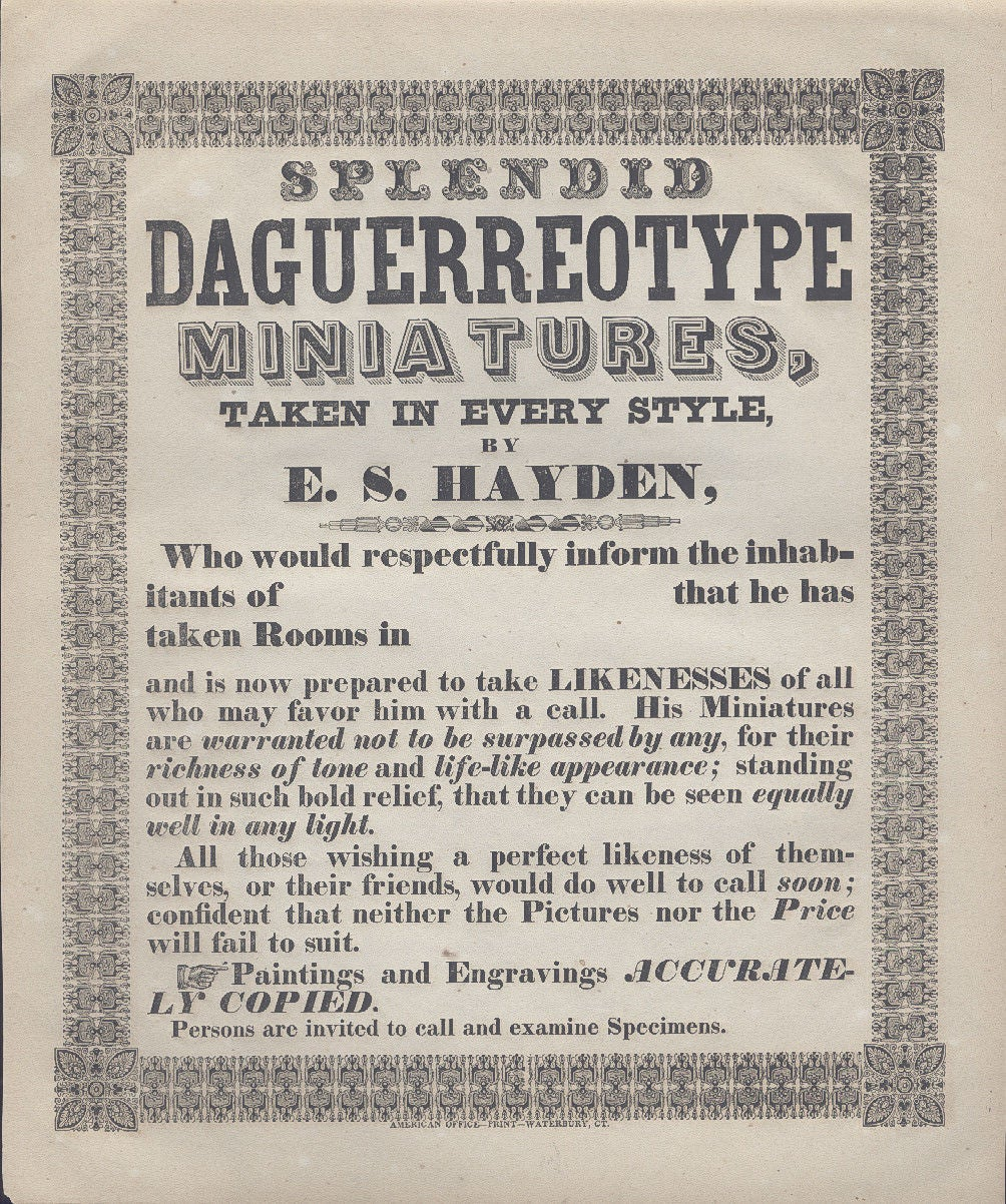 Image of E.S. Hayden: Broadside Advertising, lithograph ca. 1850