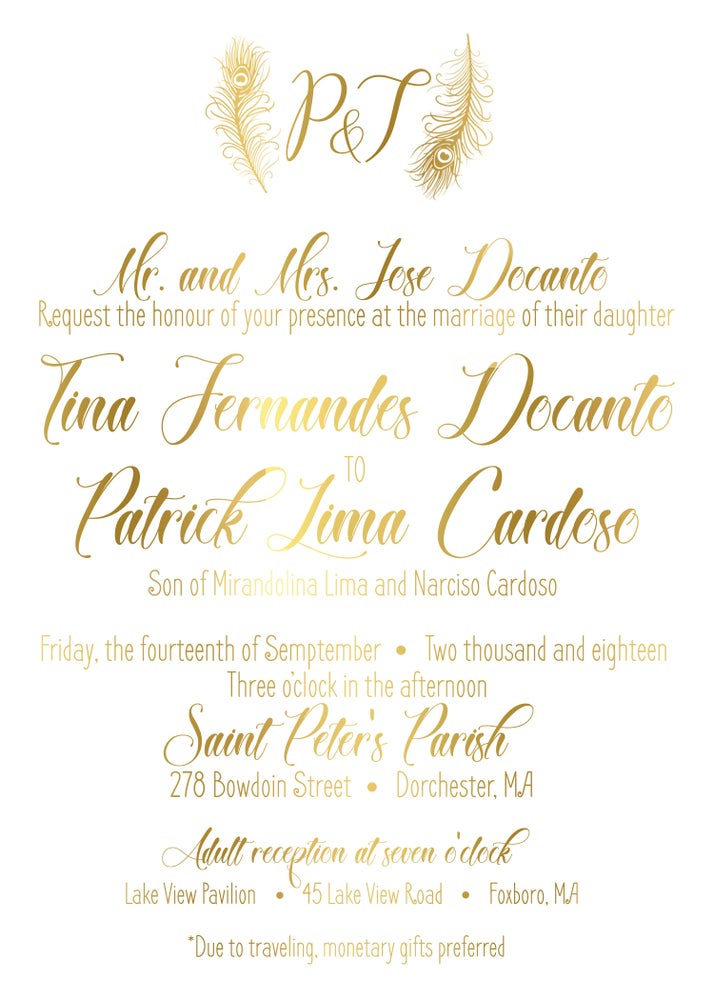 Image of Gold feather wedding package