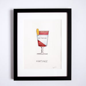 Framed Original Martinez Cocktail Artwork by Alyson Thomas of Drywell Art. Available at shop.drywellart.com