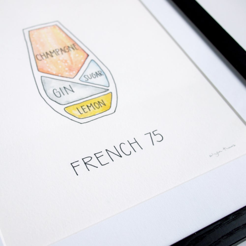 Image of Original French 75 Cocktail Painting - Framed