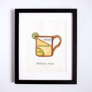 Framed, Original Watercolor Painting - Moscow Mule by Alyson Thomas of Drywell Art. Available at shop.drywellart.com