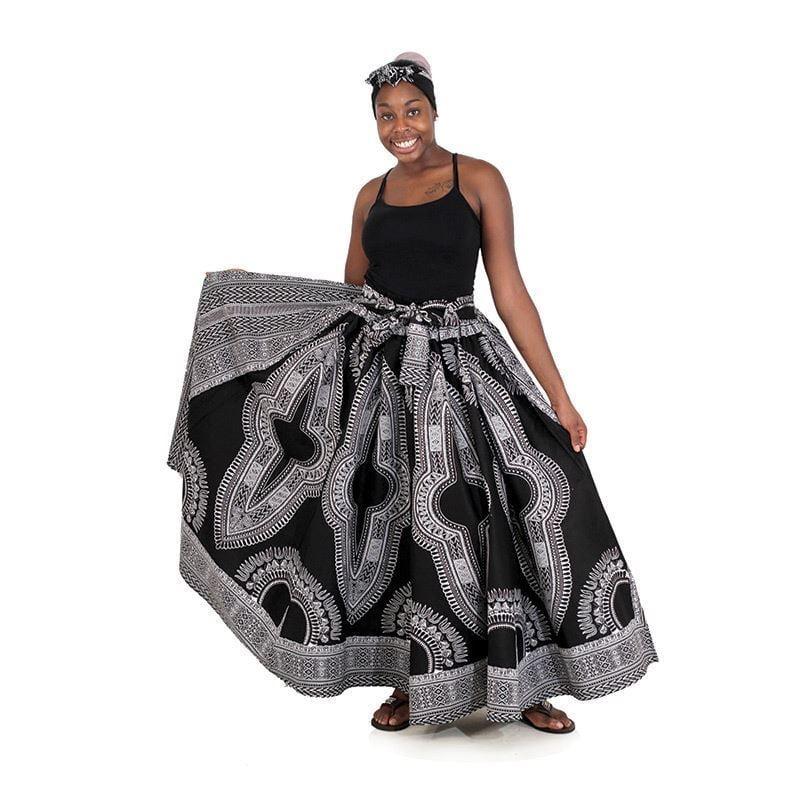 Image of Traditional Angelia Print Maxi Skirt