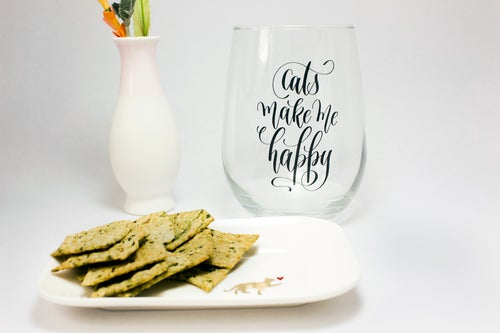 Image of Cat Lover Wine Glass - Clear Glass, Customizable