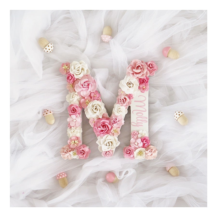 Sassiedesigns Floral Initial Pinkwhite Flowers