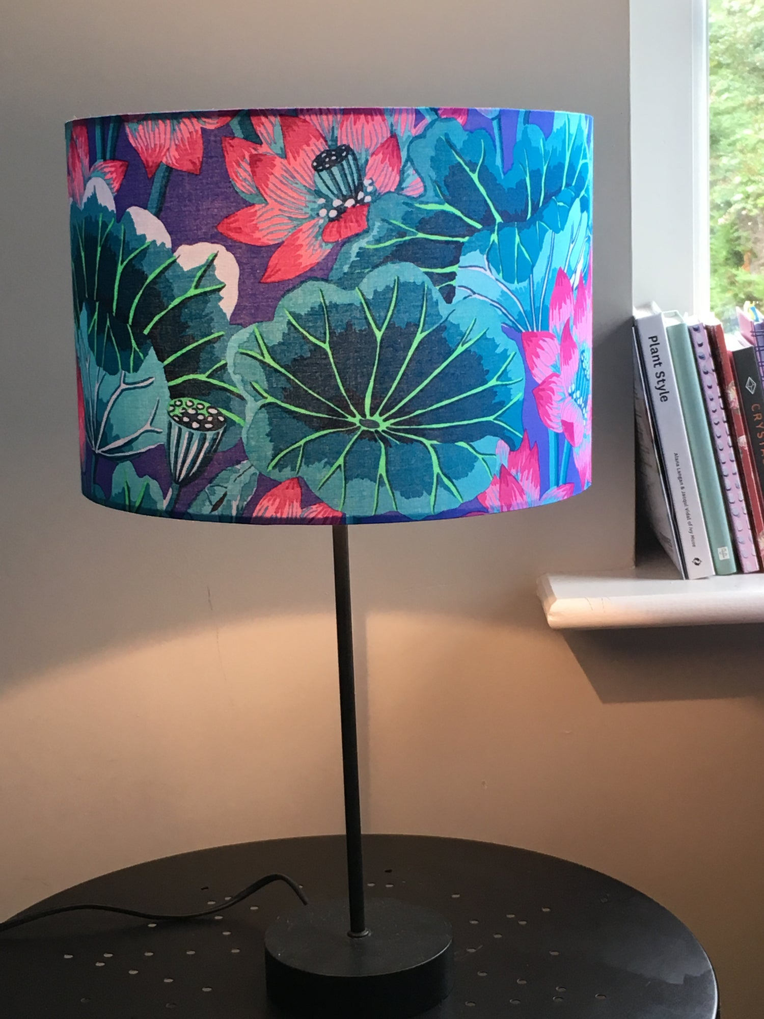 Image of Lake Blossoms Blue Lampshade
