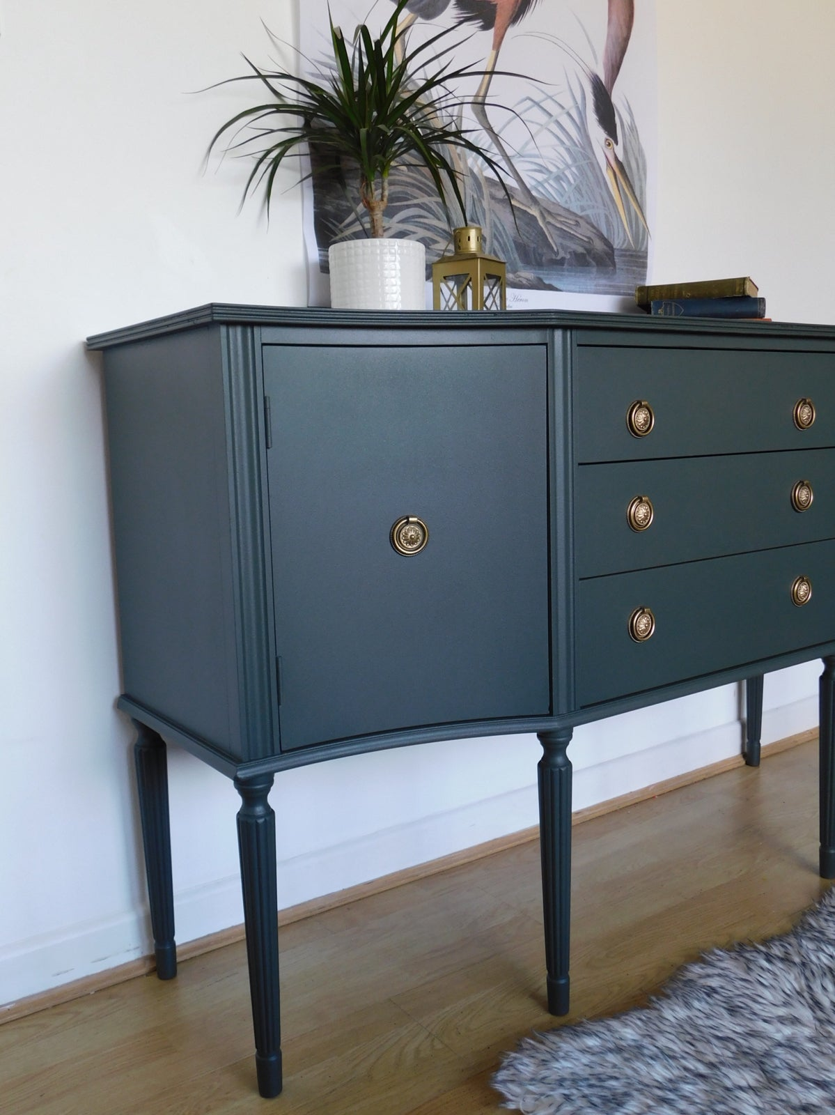 Image of A beautiful deep green sideboard