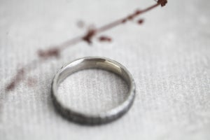Image of Platinum 4mm horn texture ring