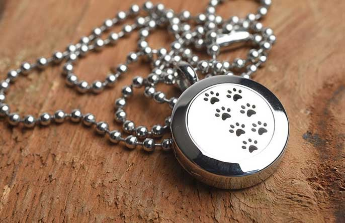 Image of Paw Prints Essential Oil Diffuser Necklace