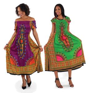Image of Traditional Print Elegance Dress