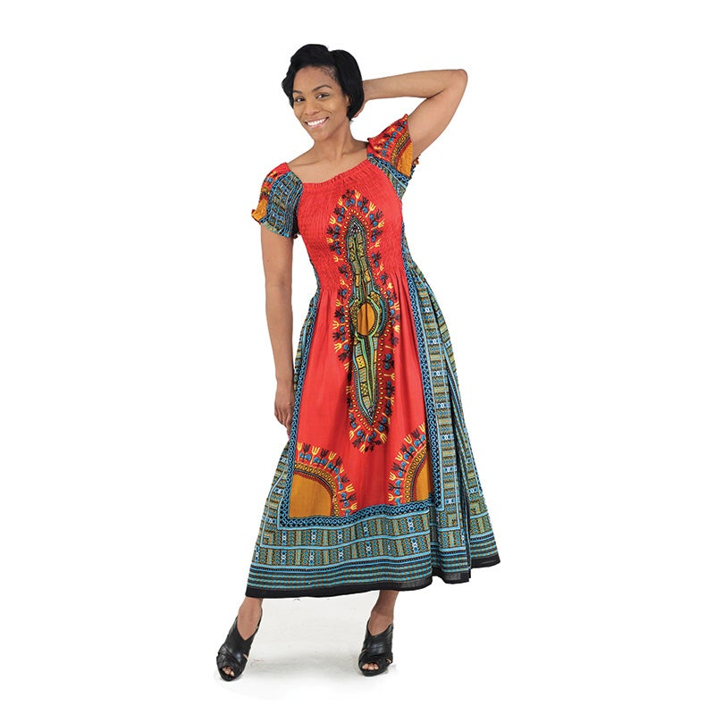 Image of Traditional Print Elegance Dress