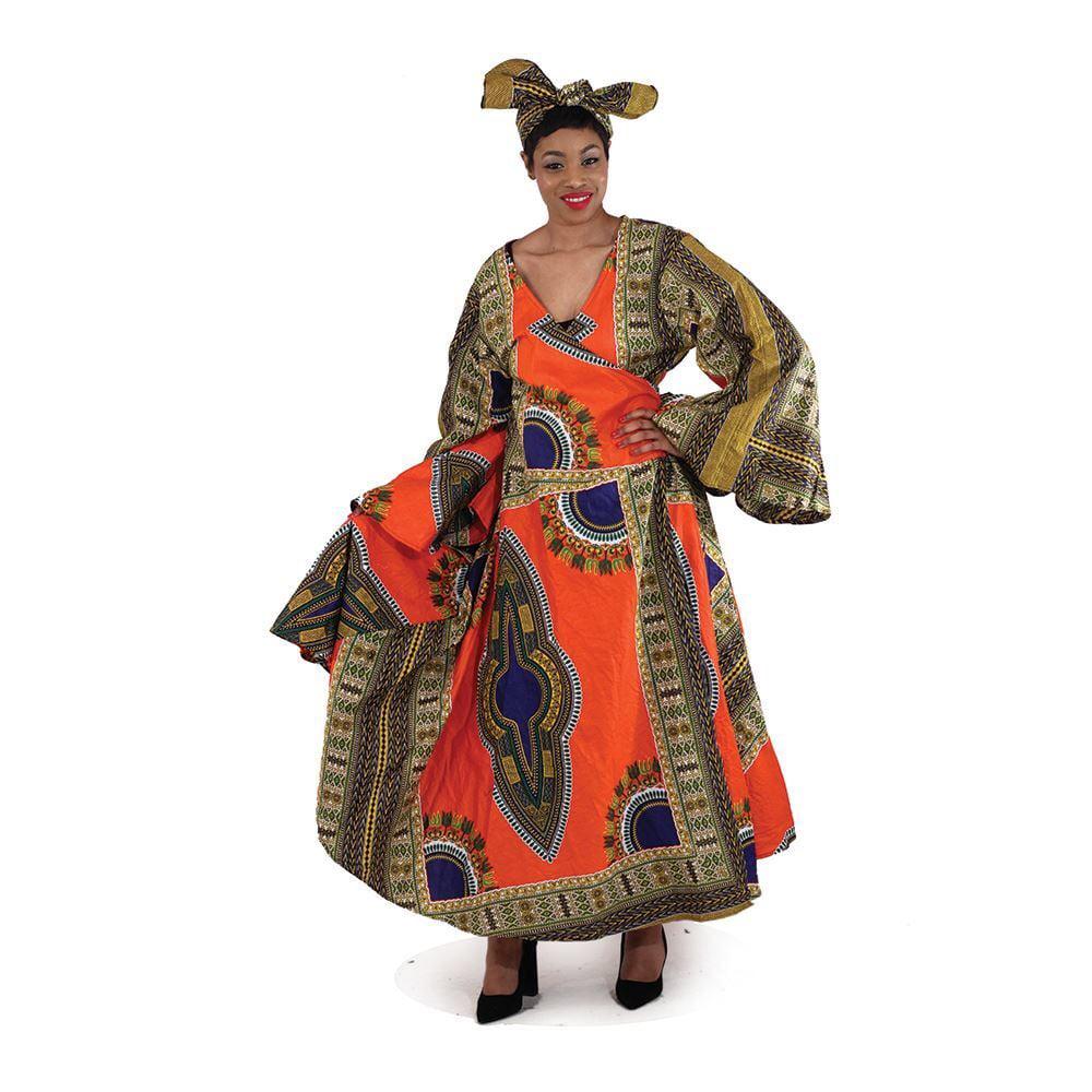 Queen Angelia Print Wrap Dress