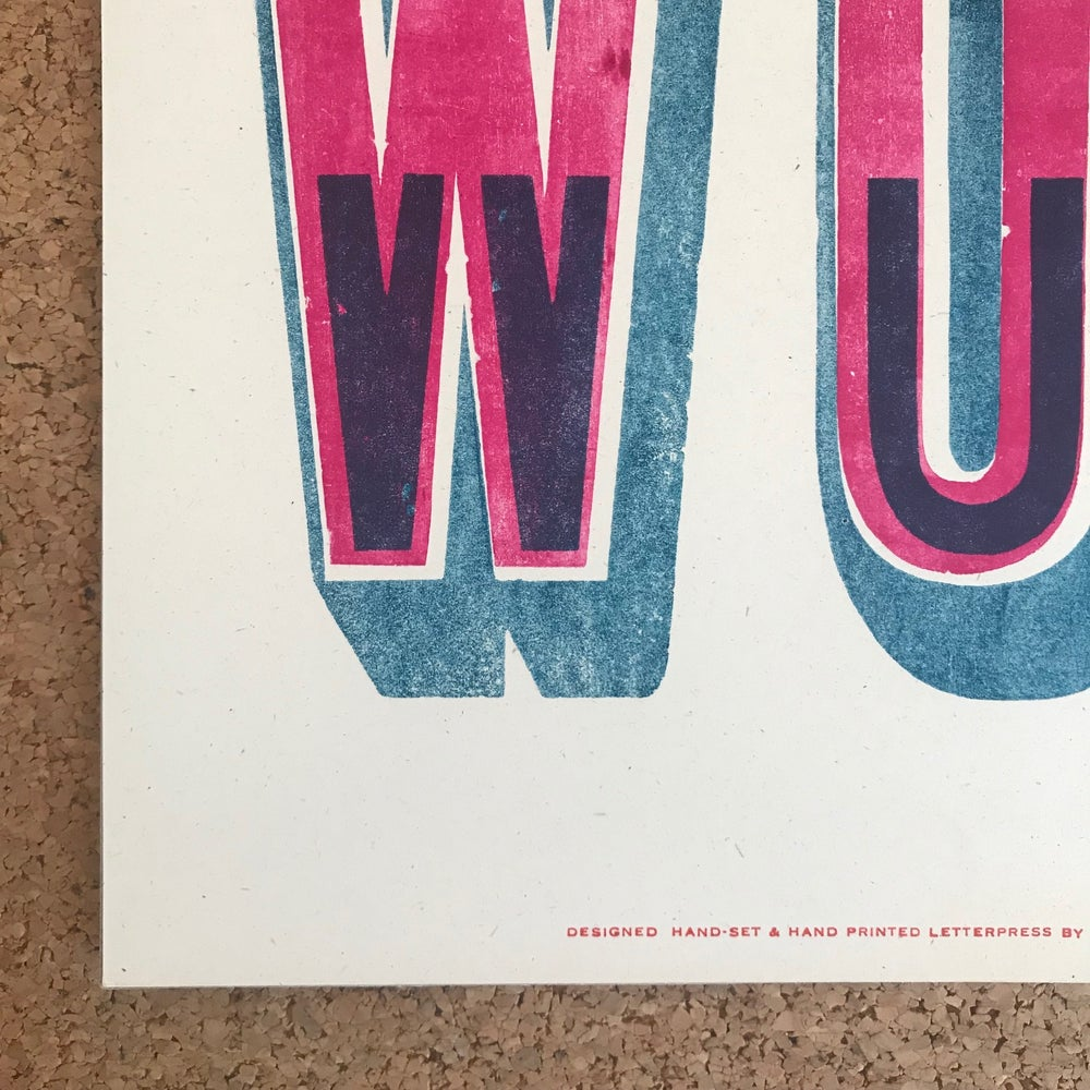 "Image of ""Word"" print in blue/pink by Hooksmith Press"