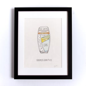 Image of Original Ramos Gin Fizz Cocktail Painting - Framed