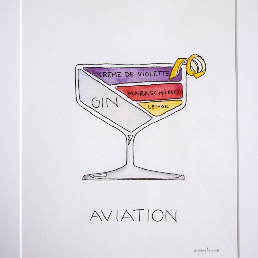 Image of Aviation Cocktail Painting - Original and Framed